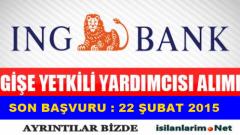 ING Bank Gişe Yetkilisi ve Banka Görevlisi Alımı 2015