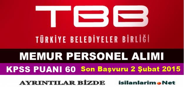 Türkiye Belediyeler Birliği Sürekli İşçi Alımı 2015