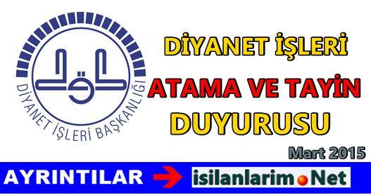 Diyanet 2015 Atama ve Nakil Başvurusu Duyuruları