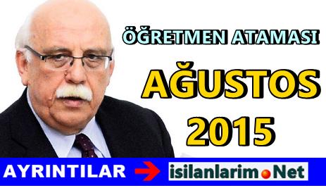 2015 KPSS Ağustos Öğretmen Ataması Kadroları