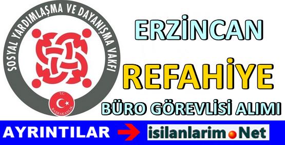 Erzincan Refahiye SYDV Büro Görevlisi Alımı 2015