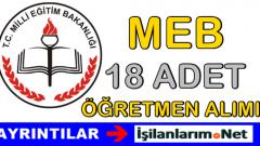 MEB Özel Eğitim Kadrosuna 18 Öğretmen Alımı İlanı