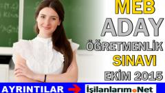 Aday Öğretmenlerin Yazılı Sınavı Ekim 2015'de Yapılacak