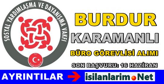 Burdur Karamanlı SYDV Personel Alımı İlanı 2015