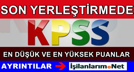 KPSS Son Atama (2014) En Düşük ve En Yüksek Puanlar