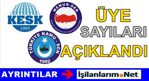 2015 Yılı Türkiye'deki Sendikaların Üye Sayıları Açıklandı