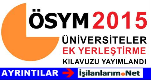2015 Yılı Üniversite Boş Kontenjanlar Kılavuzu Yayımlandı
