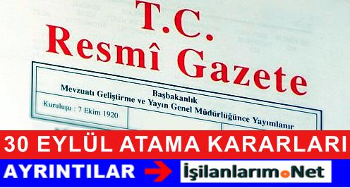 30 Eylül 2015 Tarihli Resmi Gazetede Atama Kararları