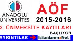 AÖF 2015-2016 İkinci Üniversite Kayıtları 9-22 Eylül 2015