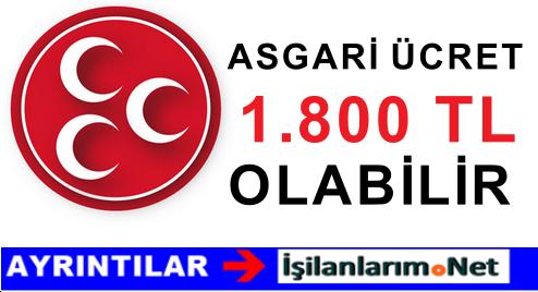ASGARİ ÜCRET 1800 TL OLABİLİR