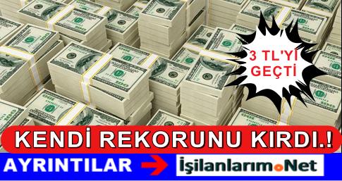 Dolar Yine Kendi Rekorunu Kırdı: 3.05 Lira Oldu 10 Eylül 2015