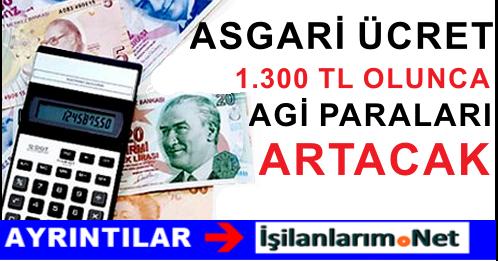 Asgari Ücret 1.300 TL Olunca AGİ Paraları da Artacak