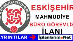 SYDV Eskişehir Mahmudiye Büro Görevlisi Personel Alımı İlanı