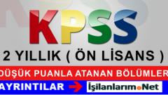 KPSS'de Ataması Düşük Puanlı Olan 2 Yıllık Önlisans Bölümler