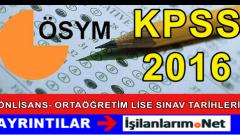 KPSS 2016 Önlisans – Ortaöğretim – Lise 22-23 Ekim'de Yapılacak