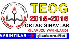 TEOG 2015-2016 8. Sınıf Ortak Sınavlar e-Kılavuz Yayınlandı