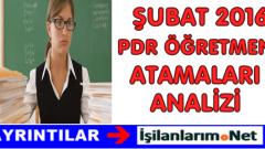 Şubat 2016 Öğretmen Atamaları Rehber Öğretmenlik (PDR) Branş Analizi