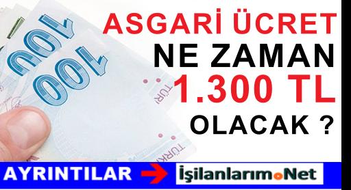 Asgari Ücret 1 Ocak 2016'dan İtibaren 1.300 TL Olacak