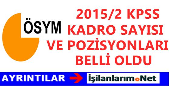 2015/2 KPSS Kadro Pozisyonları ve Sayısı Belli Oldu