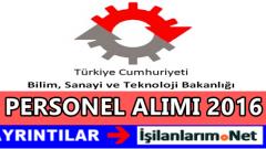 Bilim Sanayi ve Teknoloji Bakanlığı Personel Alımı 2016