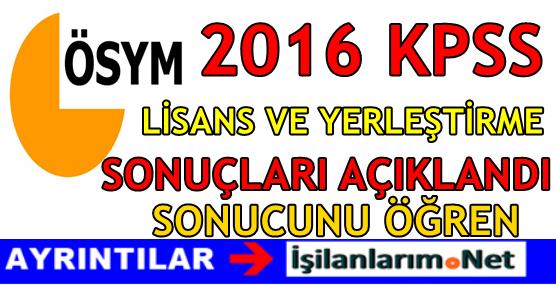 KPSS 2016 Lisans En Düşük En Yüksek Memur Atama Puanı